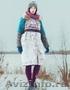 Женское бирюзовое зимнее пальто с мехом (шуба), Объявление #1594015