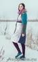 Женское бирюзовое зимнее пальто с мехом (шуба) - Изображение #2, Объявление #1594015