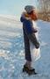 Женское с синими рукавами зимнее пальто с мехом (шуба) - Изображение #2, Объявление #1594023
